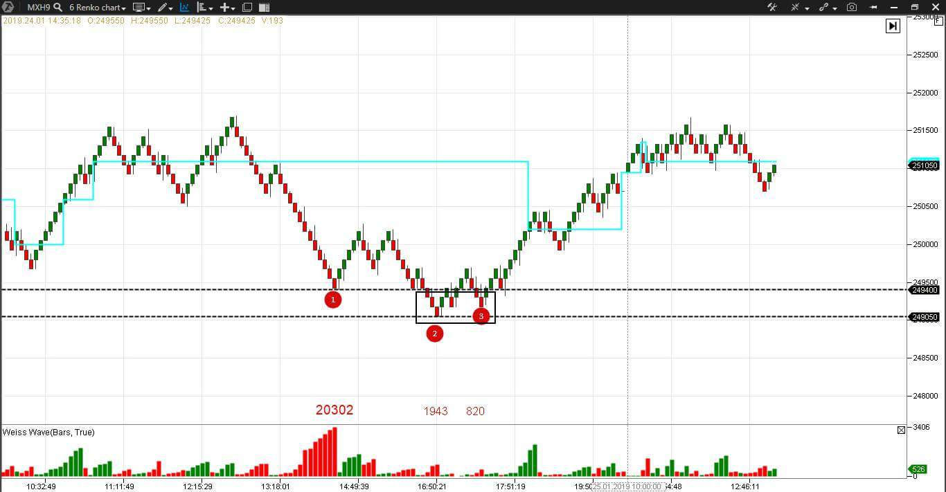Example of a spring in a renko chart