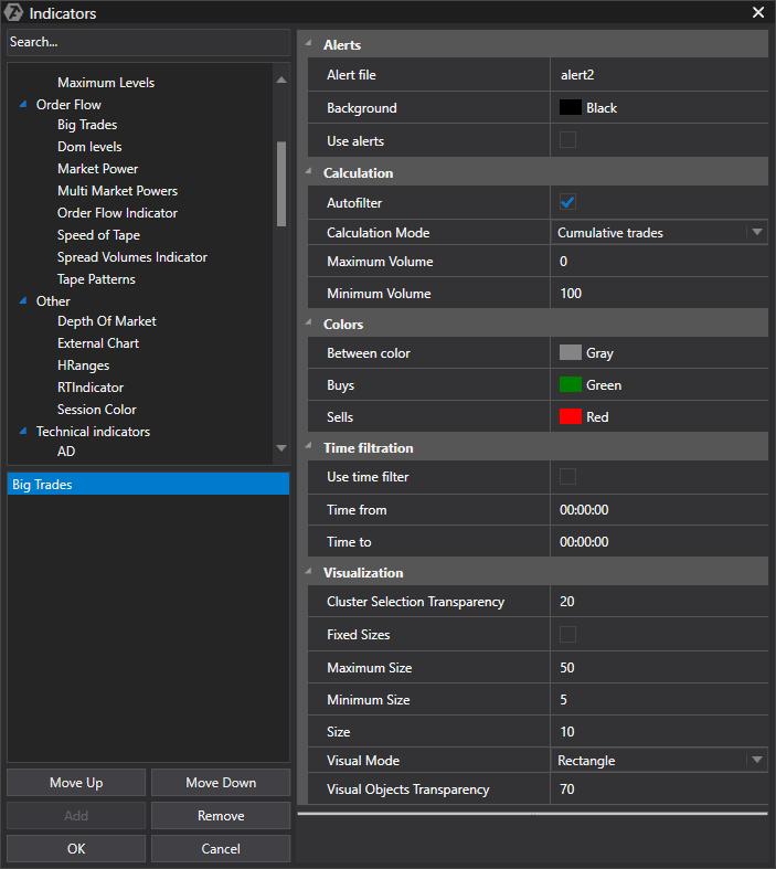 Big Trades Indicator settings
