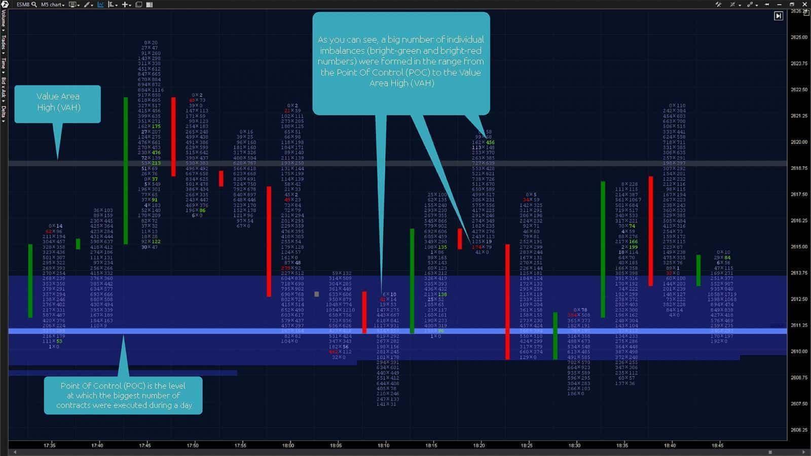 Bid x Ask Imbalance Footprint chart and the Market Profiles indicator (with an external period = 1,440)
