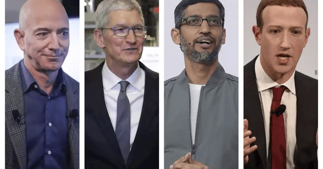 Jeff Bezos, Tim Cook, Sundar Pichai and Mark Zuckerberg