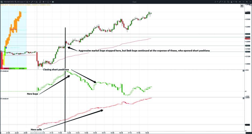 Example of using the OI Analyzer indicator