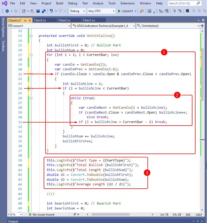 Пишем код 4 индикатора для ATAS
