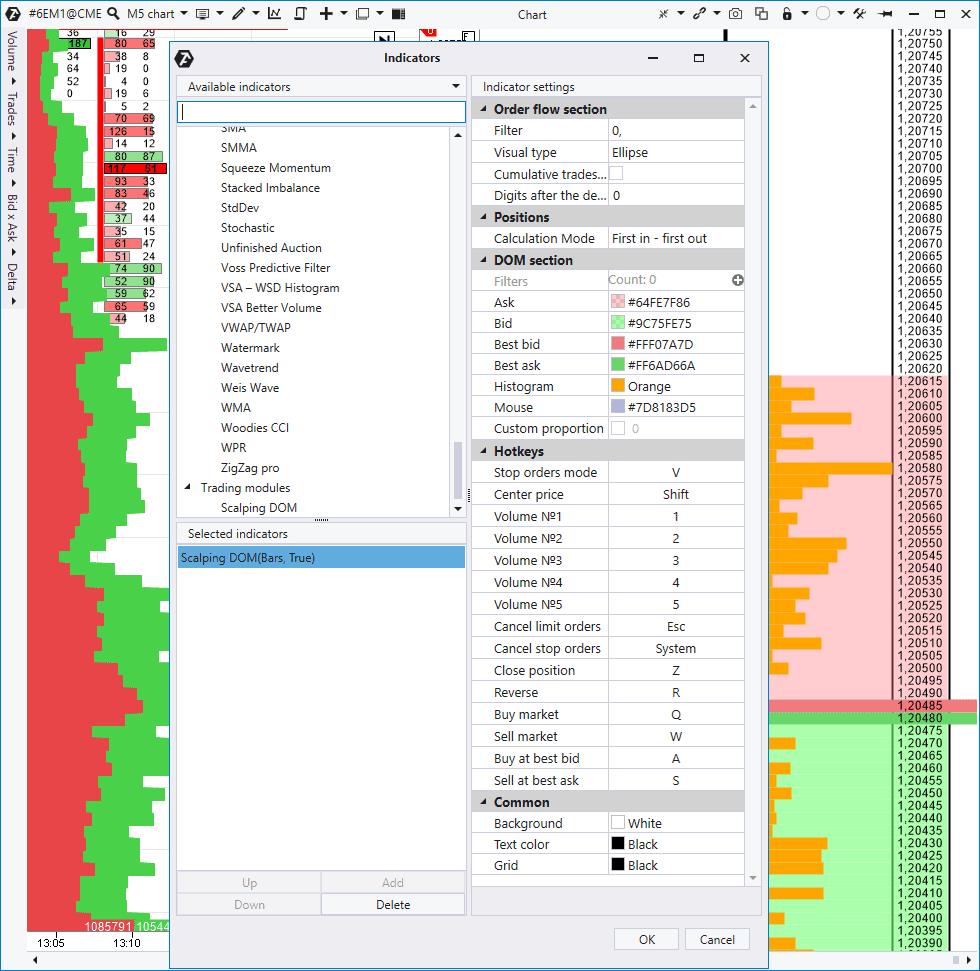 Настройки модуля Scalping DOM