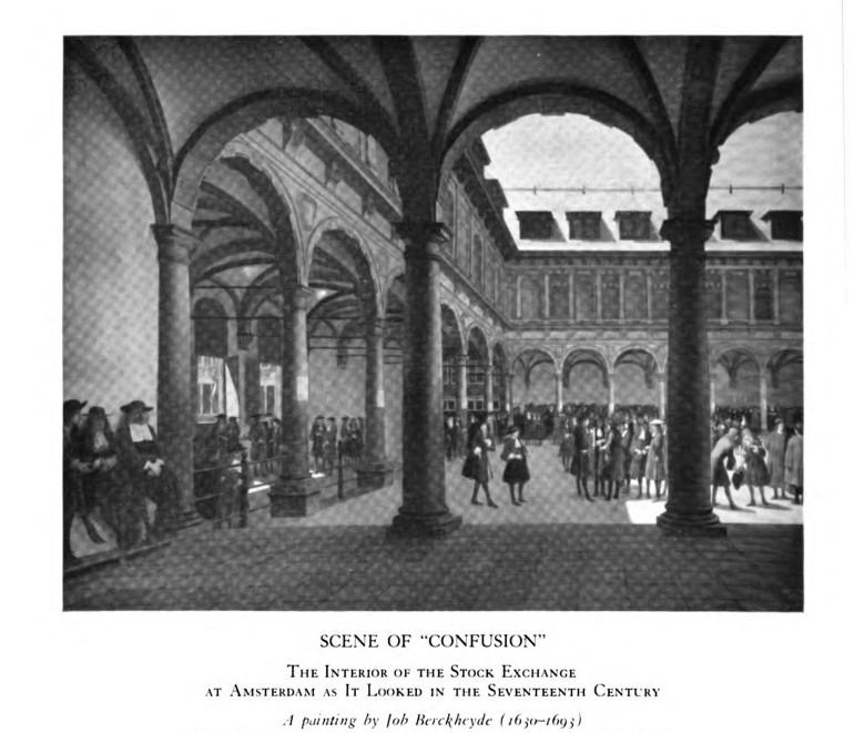 Зал фондовой биржи в Амстердаме, как он выглядел в 17 веке